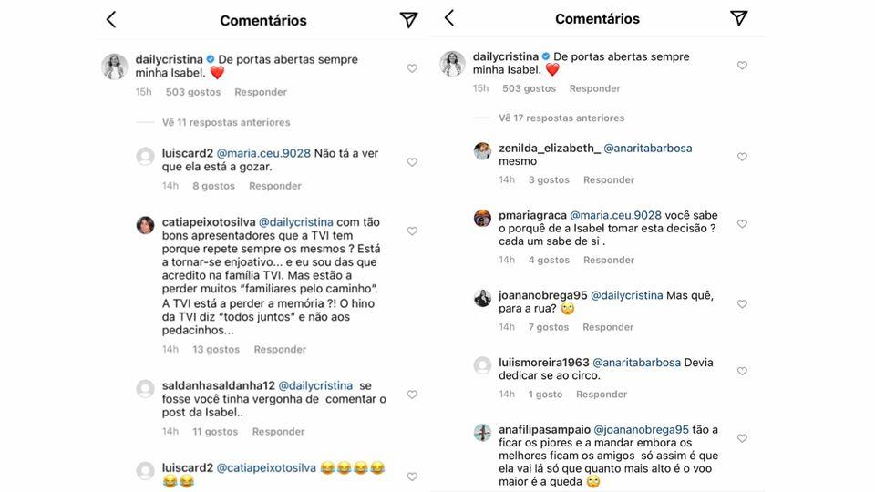 Comentários na publicação de Cristina Ferreira