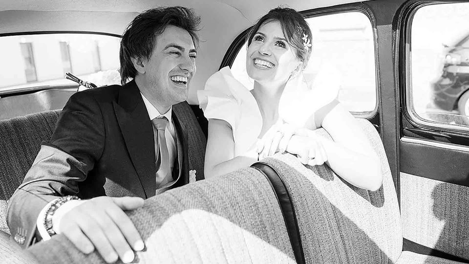 Daniel Fontoura e a mulher no casamento