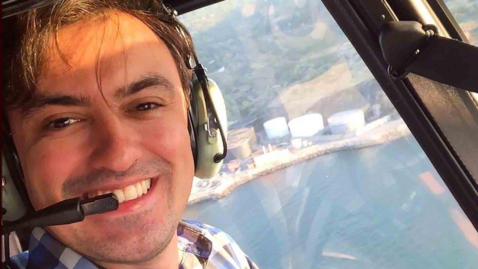 Daniel Fontoura num helicóptero