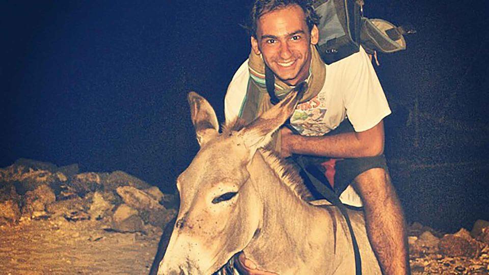 Duarte Pita Negrão com um burro