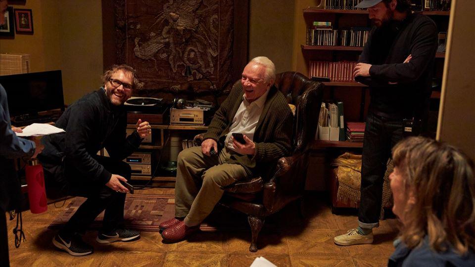 o realizador Florian Zeller com Anthony Hopkins