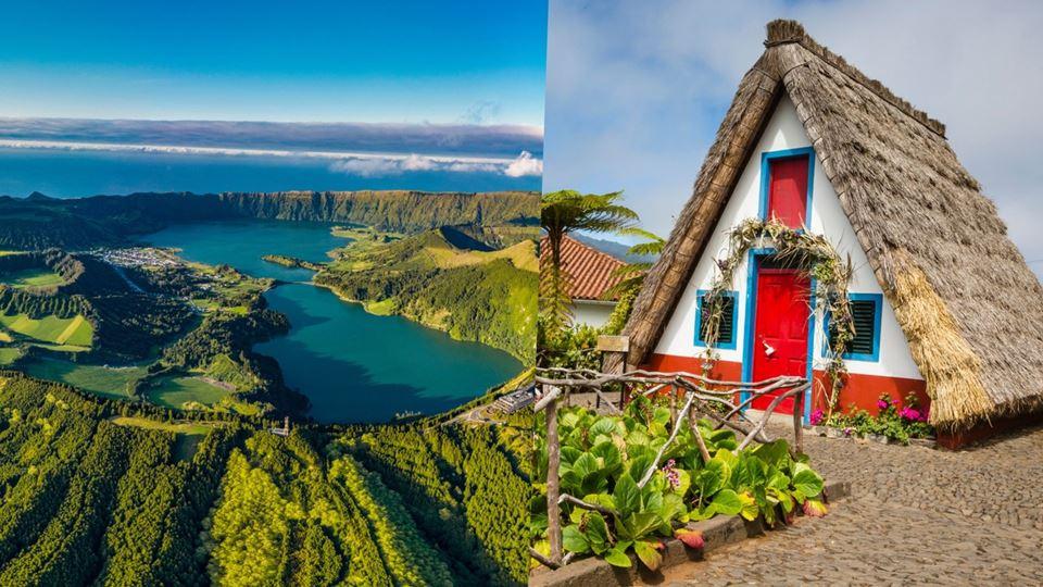 Lagoa das Sete Cidades e Casas de Santana na Madeira