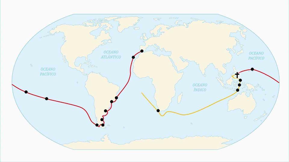 Mapa de viagem de circum-navegação