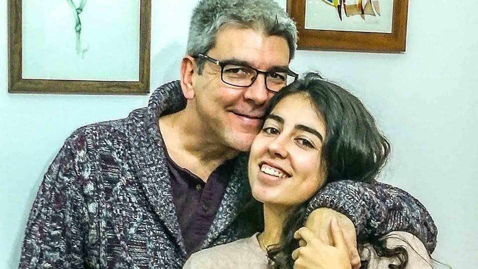 Paulo Fragoso com a filha