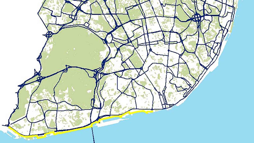 Percurso de bicicleta de Algés e Cais do Sodré