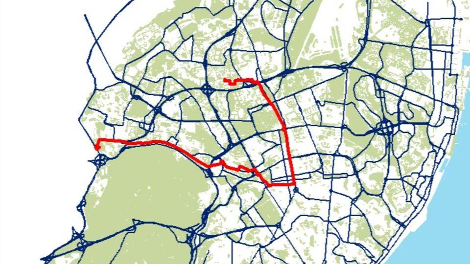Percurso de bicicleta no dia 7 de junho