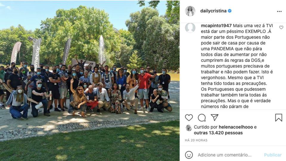 Publicação de Cristina Ferreira no Instagram
