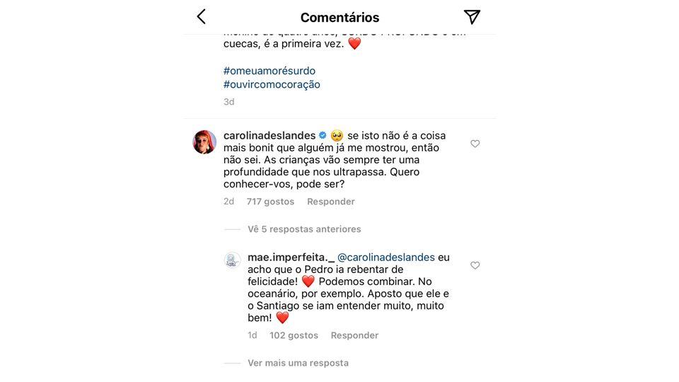 Resposta de Carolina Deslandes a vídeo de menino surdo