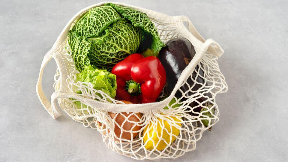 saco de rede fruta e legumes