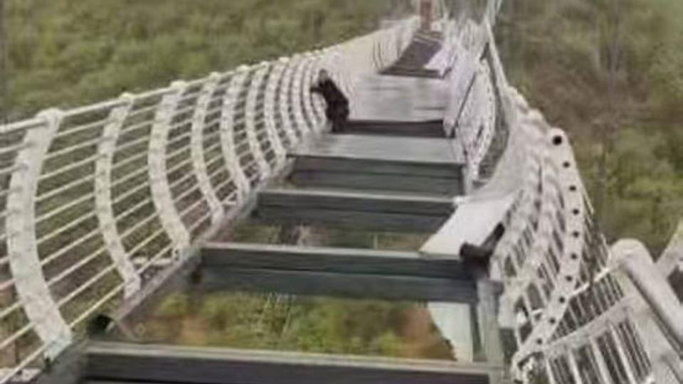 Turista fica pendurado em pont...